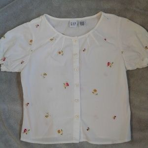 EUC Gap White Embroidered Blouse Girls (L)